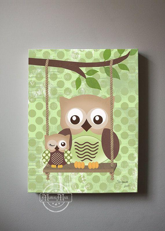 Owl Decor Boys wall art - OWL canvas art, Baby Nursery Owl with Swing 10x12  woodland whimsical nursery art on Etsy, $51.00