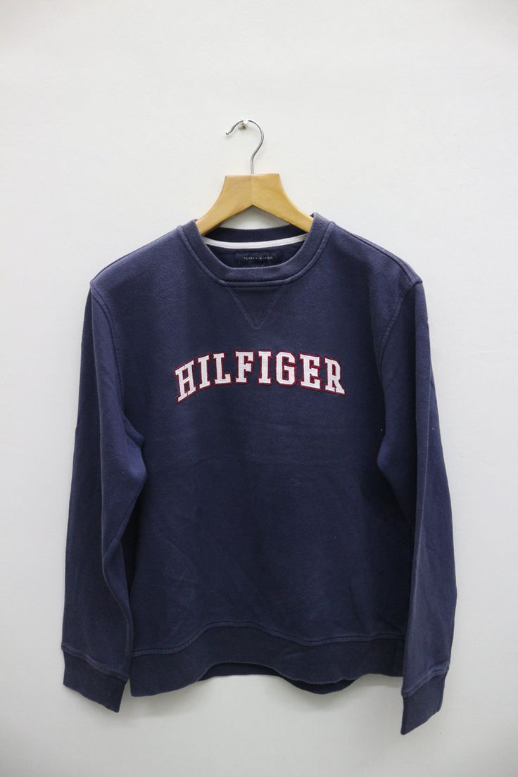 Vintage TOMMY HILFIGER Big Logo Pullover Sweater Sweatshirt M by VintageClothingMall on Etsy