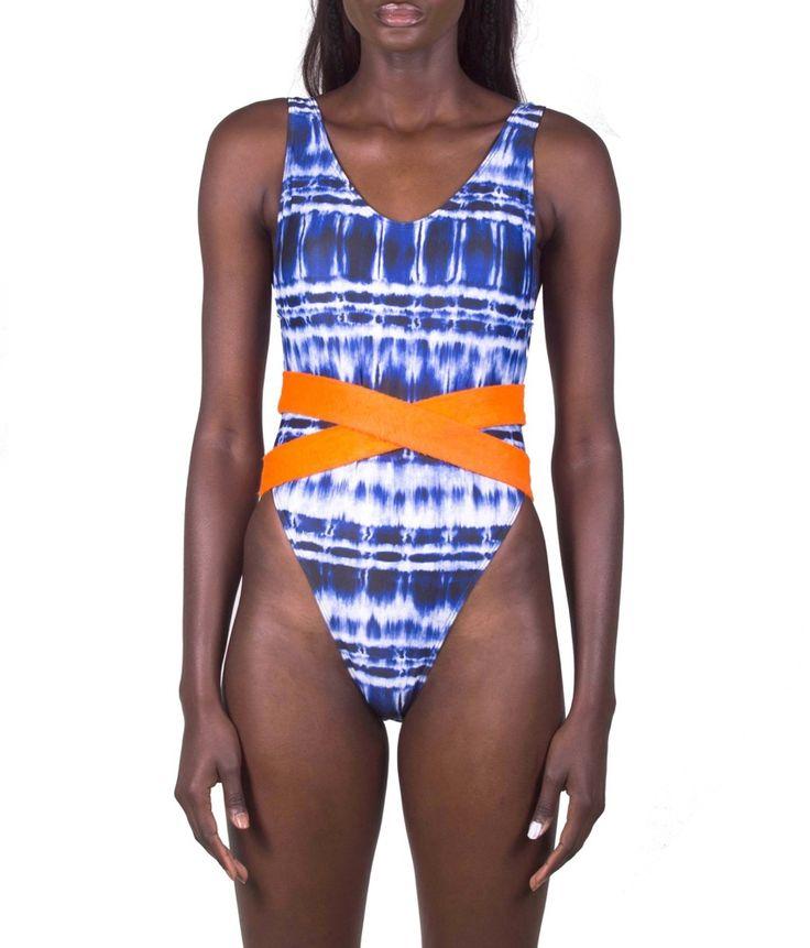 "Diarrablu: Maillot de bain 1 pièce ""LEILA""  Retro high cut  Ceinture orange  Made in Senegal"