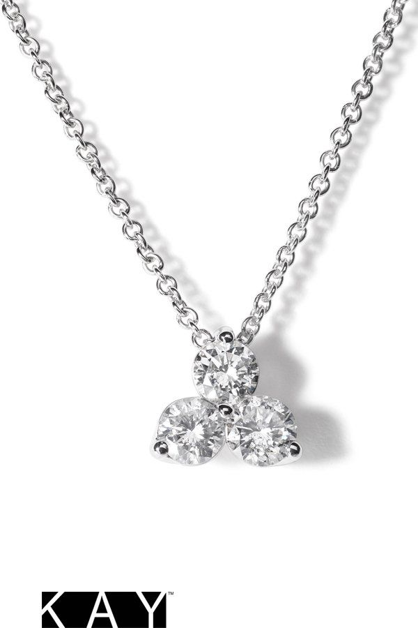 f6179c48a0b56 3-Stone Diamond Necklace 1/2 ct tw Round-cut 10K White Gold | Long ...
