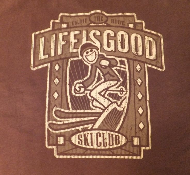 NWT Life Is Good Mens Long Sleeve T Shirt Brown SKI CLUB Jake Skiing MSRP $36.00