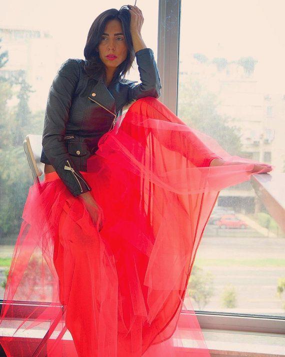 Boho, Bohemian, Tulle Skirt, Neon Skirt, Tutu, Long Skirt , Tutu Skirt , Hot Red Skirt , Dream Skirt