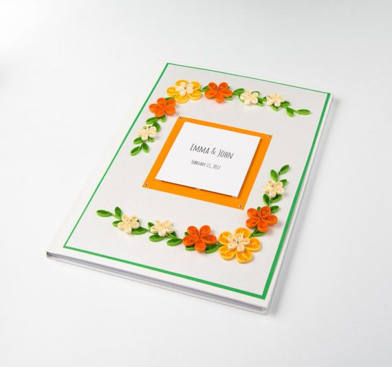 Unique Handmade Wedding Guestbook Orange Quilling Flowers Custom Guestbook Anniversary Wedding Ceremony Reception Etsy Wedding by PaperParadisePL