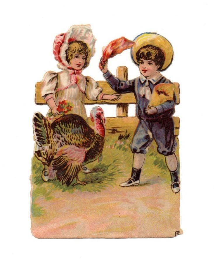 Alte Glanzbilder Oblaten Scraps Kinder Truthahn 12cm ...