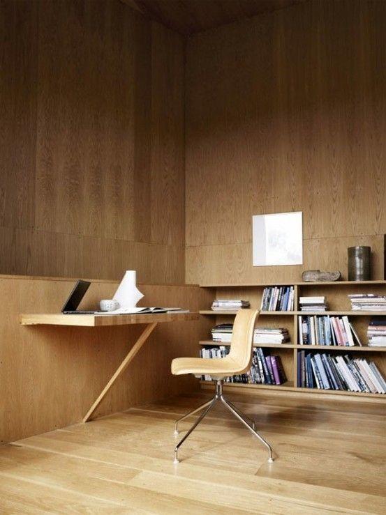Scandinavian Plywood Home Office Design Very Zen Like
