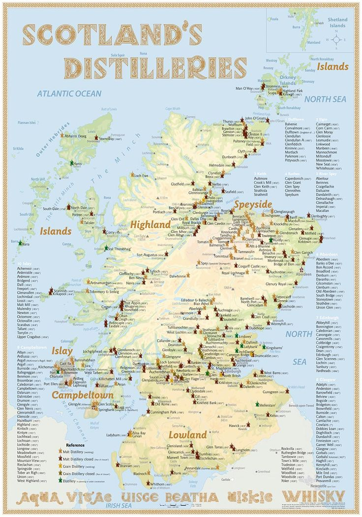 Scotland's Distilleries Map (3rd Edition · 2013 · Poster) with all Whisky Distilleries in Scotland · Up to date is the 6th edition · 2016)