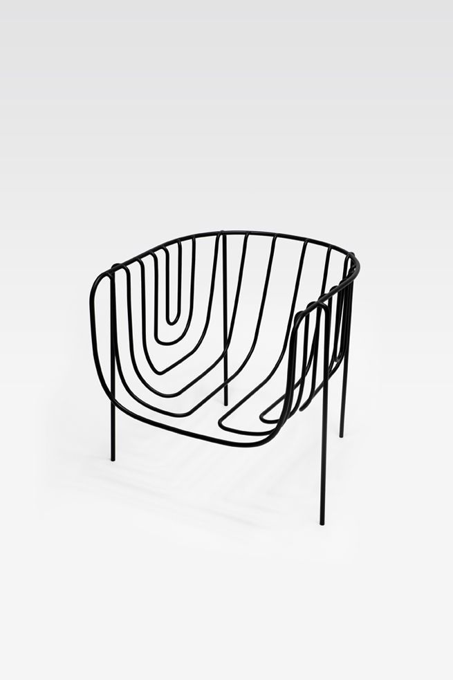 thin black lines chair by nendo