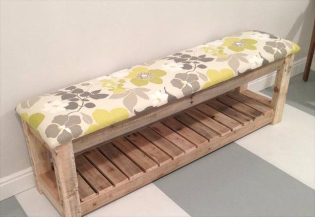 Best DIY Pallet Furniture Ideas - DIY Reclaimed Wood Pallet Bench - Cool Pallet Tables, Sofas, End Tables, Coffee Table, Bookcases, Wine Rack, Beds and Shelves - Rustic Wooden Pallet Furniture Made Easy With Step by Step Tutorials - Quick DIY Projects and Crafts by DIY Joy http://diyjoy.com/best-diy-pallet-furniture-ideas #woodworkingbench #palletfurniturebench #diysofatablepallet