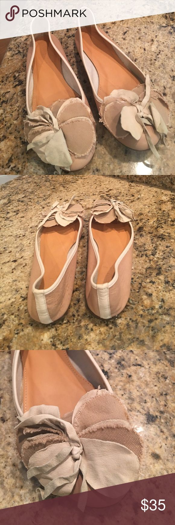 J Crew ballet flats Beige & cream ballet flats with leather & fabric flower petal. j crew Shoes Flats & Loafers