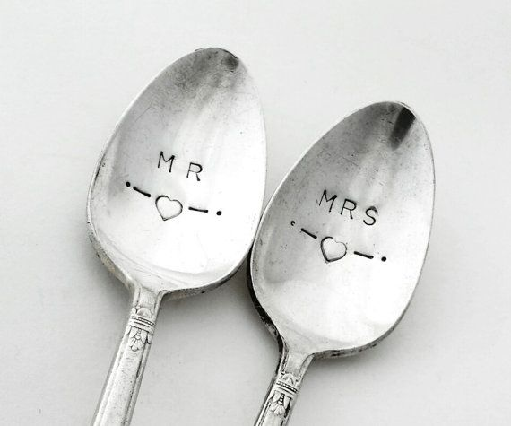 Personalised Spoons ~ Hand Stamped Vintage MR & MRS ~ Vintage Silver Plated spoons Goozeberry Hill - Perfect Wedding present / gift