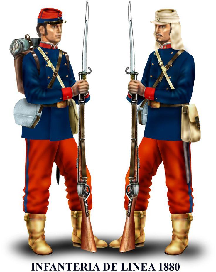 Historia militar de la Guerra del Pacífico En 1880 los regimientos de línea, junto al Esmeralda y Santiago, pasan a usar chaquetas largas. Protegían el kepí de paño con uno de brin con cubrenuca.
