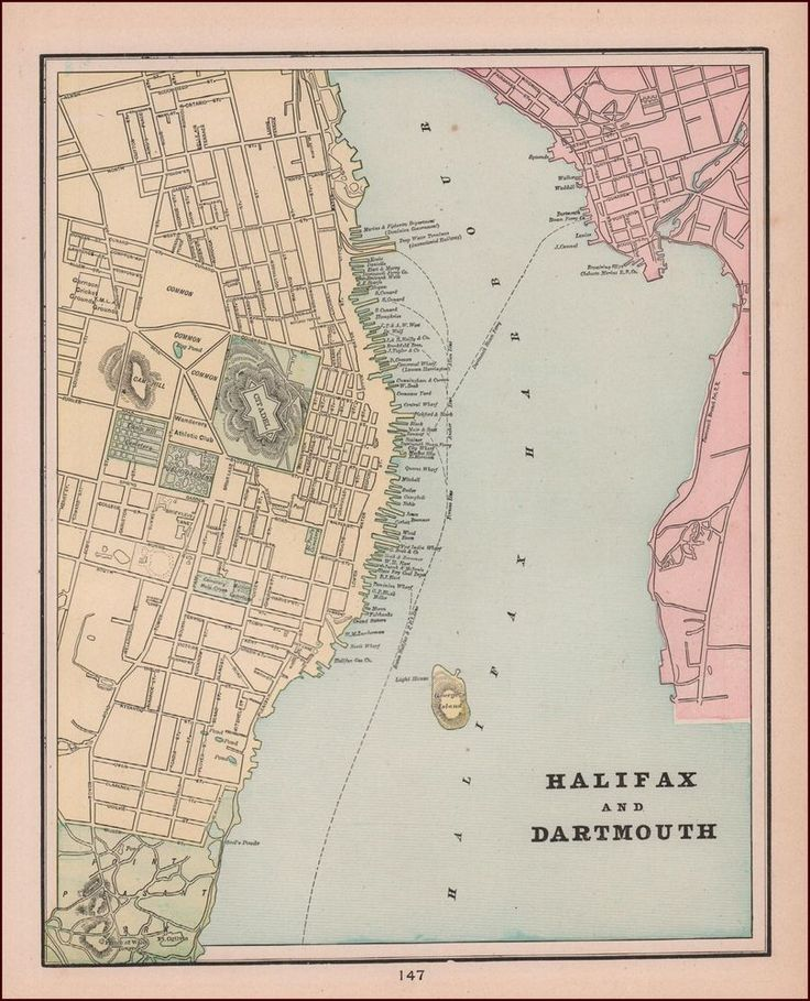HALIFAX & DARTMOUTH, Canada, antique map, original 1892