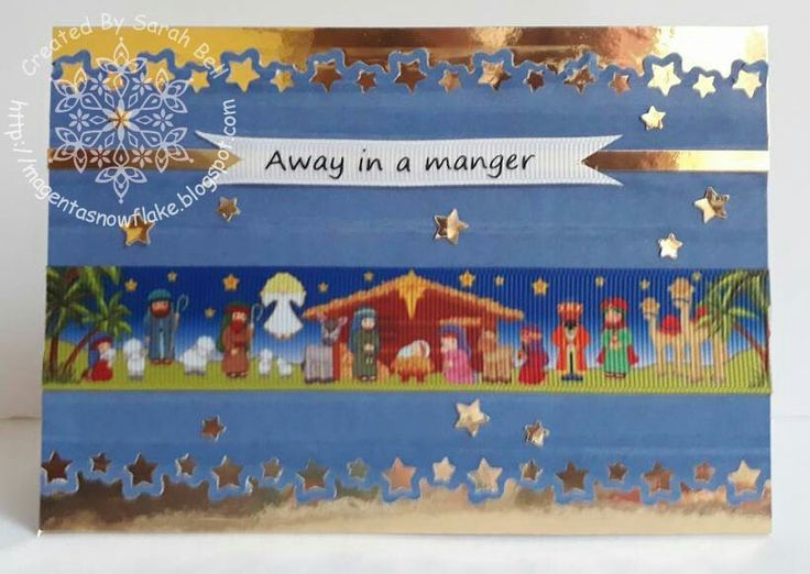 Designed by Sarah Bell using 25mm Nativity Story Ribbon and 9mm Nativity Words Ribbon by Crafty Ribbons