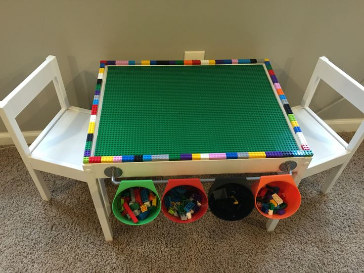 Lego table station I made for my son. Great for motor planning, sorting, counting and best of all to keep all of the little pieces in one place!! Latt childrens table- Ikea Bygel containers- Ikea Bygel rod- Ikea