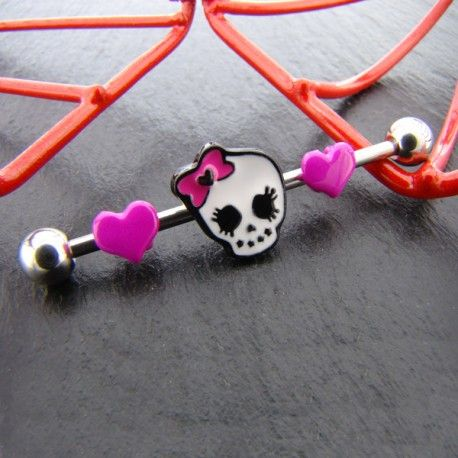 Piercing Industriel kit tête de mort et coeurs roses https://piercing-pure.fr/p/364-piercing-industriel-kit-tete-de-mort-et-coeurs-roses.html #piercingoreille #coeur #barreindustrielle