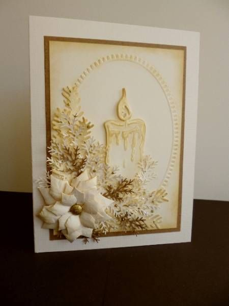 Christmas Card - Essential products for this project can be found on Crafting.co.uk - for all your crafting needs. - Christmas Card gorgeous in cream with sepia...die cut poinsettea, folliage and candle...embossing folder oval frame background... Beautiful!