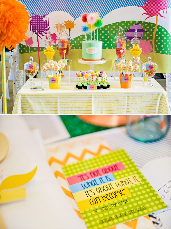 Playful & Bright Lorax Themed Party....those macaroons are so cute!!!!!