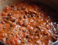 Best. Chili. Ever. Secret ingredients are beer, honey, and cocoa powder. It makes a huge pot full, but freezes great!