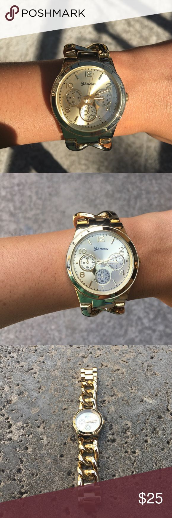 Charming Charlie's Geneva Gold Watch Geneva Gold Watch. Very stylish and looks like real gold. Would schnazz up any outfit! Great quality watch with new battery installed. Small scratches on stainless steel back. Willing to negotiate a reasonable price! Geneva Platinum Accessories Watches