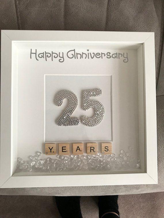 Silver Wedding Anniversary Box Frame Personalised Anniversary Etsy 25 Year Anniversary Gift 25 Year Anniversary Anniversary Gifts