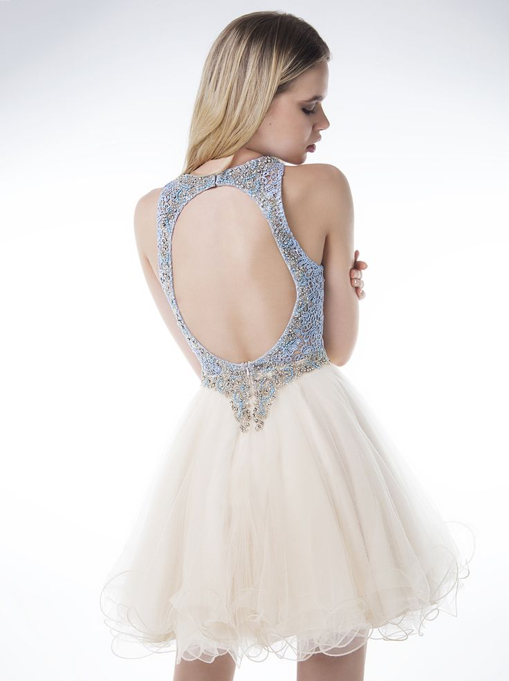 Short mesh dress with lace and beading