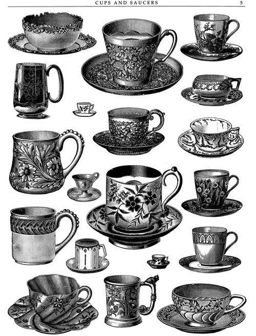 gravure : zia, mugs, tasses et soucoupes