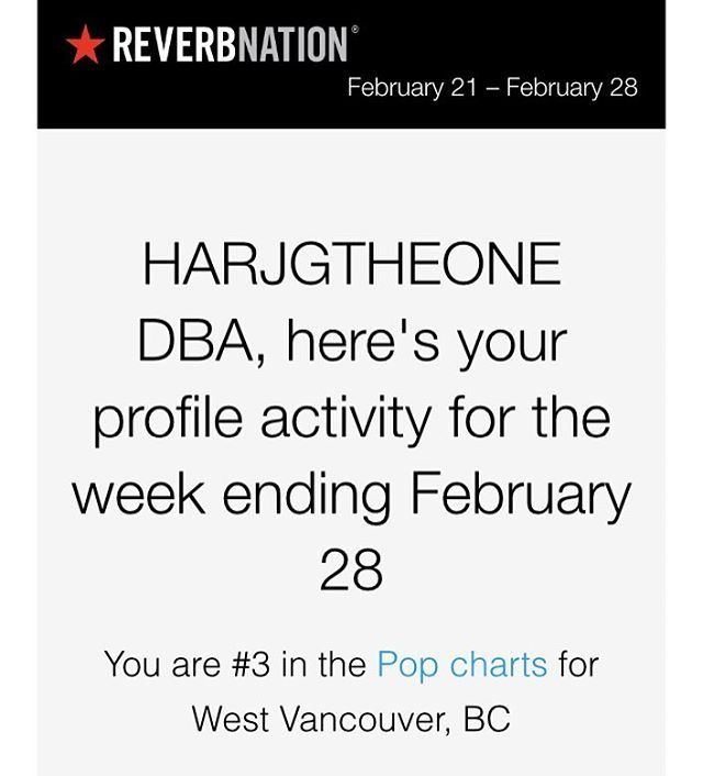 Thanks again to fans, HARJGTHEONE music  no 3 in reverbnation charts , almost 9 months in top 10 , 27 in Canada @reverbnation @soundcloud @spotify @billboard @realdonaldtrump @applemusic @garagebandsongs #HGOHD #HARJGTHEONE #HARJGTHEONEDBA Www.reverbnation.com/HARJGTHEONEDBA