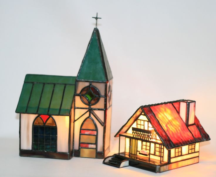 Stained glass house and church
