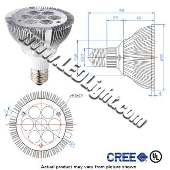 Par 30 LED High Power 7 x 1 Watt Dimmable 85-260VAC 30 Deg E27 UL  Par 30 LED Light 7 one watt high power cree LEDs. Operates on dimmer switches 85-260VAC. E27, 30 degree viewing. White 5500 - 6500K. This led bulb will work in security motion detectors. Since these are led lights they make the enviroment that you are in cooler since they use up to 80 percent less power.