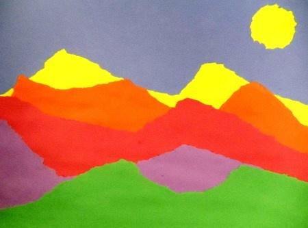 Torn Paper Mountains Crafts Art Art Lesson Plans Art