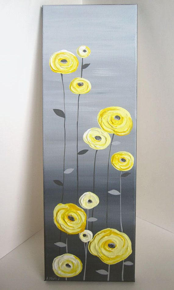 Yellow and Grey Textured Flower Art Original Acrylic Painting on Canvas    Size: 8x24  Depth: 3/4  Color: Yellows range from a light buttery