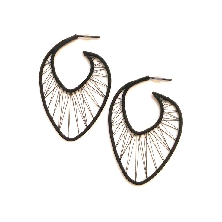 Earrings Odéon Oxydized brass and polyester wire