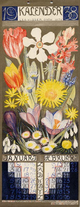 Leo Visser (Dutch, 1880-1950). Kalender 1938.