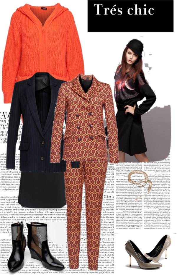 """""""Leisure suit, flat shoes, high heels, knitted sweater"""" by frontrowshop ❤ liked on Polyvore"""