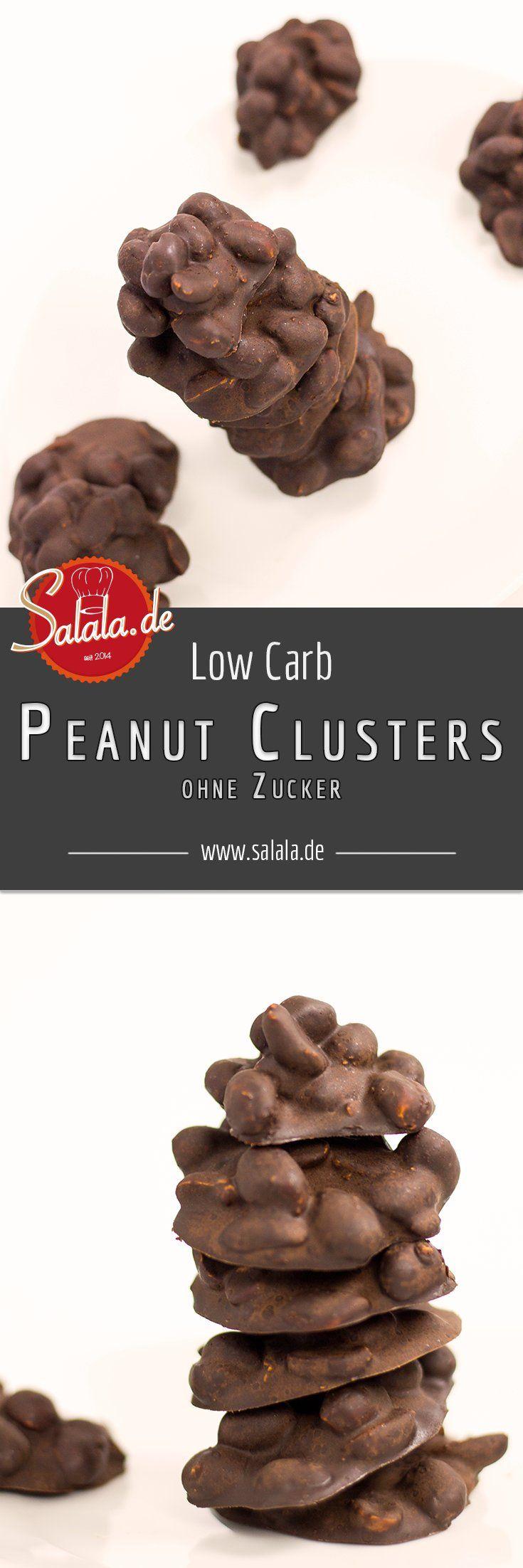 Peanut Clusters Low Carb Naschen Erdnusshäufchen ohne Zucker - salala.de - Low Carb Peanut Clusters oder Erdnusshäufchen sind eine leckere kleine Schweinerei. Hochprozentige Schokolade und salzige Erdnüsse gemischt mit hochwertigem Erdnussmus – nicht Erdnussbutter, das ist ein Unterschied!