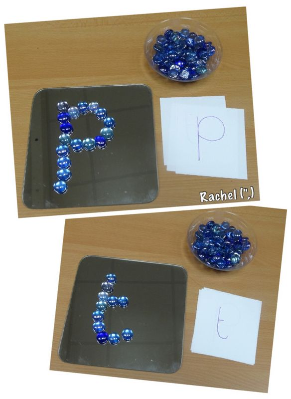 "Creating letter shapes with loose parts - from Rachel ("",)                                                                                                                                                                                 More"