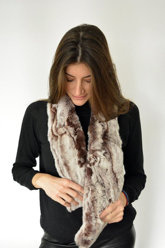 Women's Handmade Gray Aubergine Fur scarf made with by lefushop