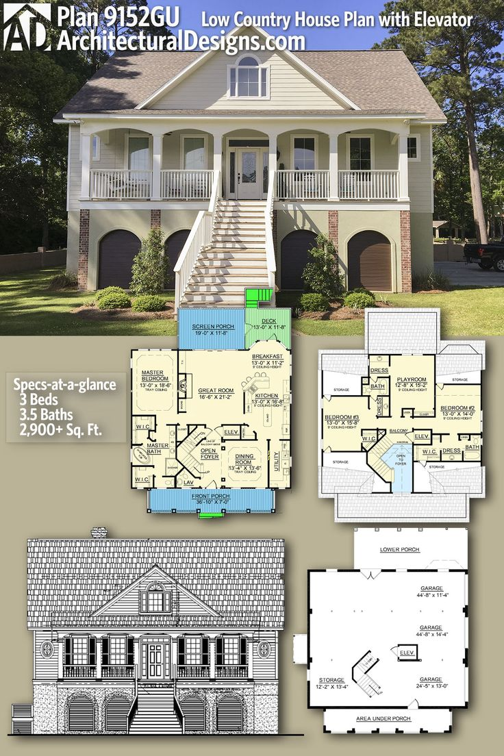 Plan 9152GU Low Country House Plan with