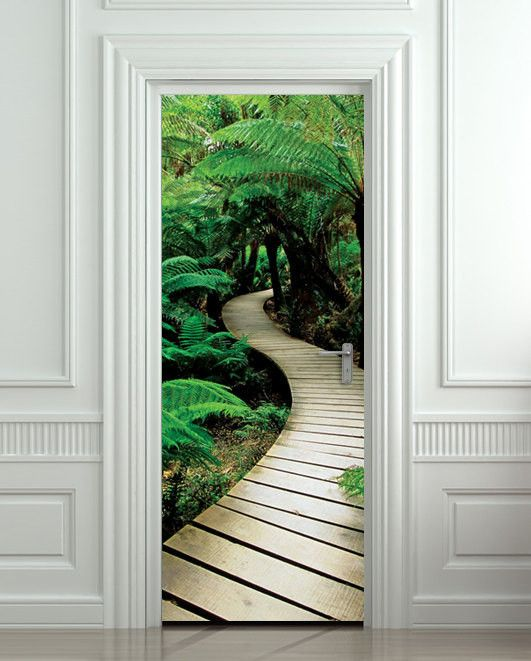 "Door STICKER palm tree path mural decole film self-adhesive poster 30""x79""(77x200 cm)"