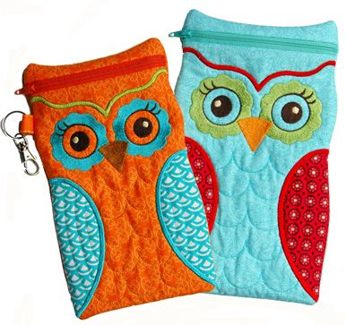 In The Hoop :: Bags, Cases & Wallets :: Owl Cases Large - Embroidery Garden In the Hoop Machine Embroidery Designs