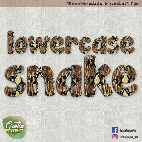 ABC Snake Skin Lowercase Print Font Clipart for Scrapbooks