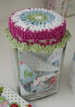 Jar lid cover with elastic threaded through . . . . ღTrish W ~ http://www.pinterest.com/trishw/ . . . . #crochet #color
