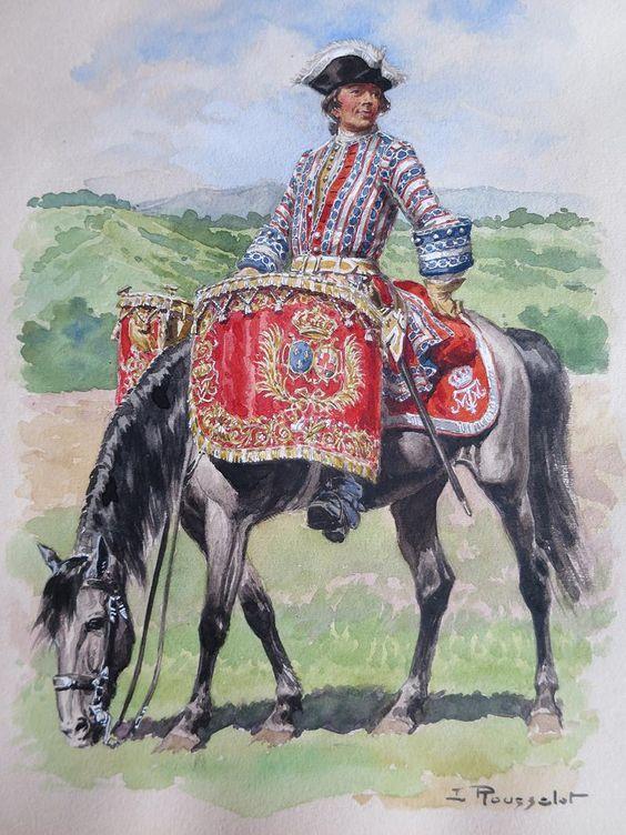 Maison du roi. Gendarmes de la Reine, timbalier, 1720-1724.