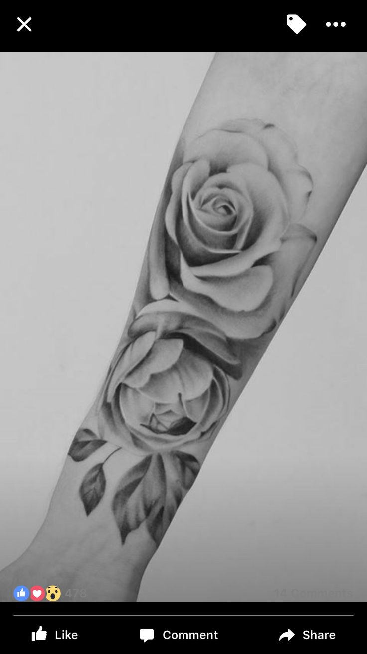 Realistic rose tattoo black and grey #RoseTattooIdeas
