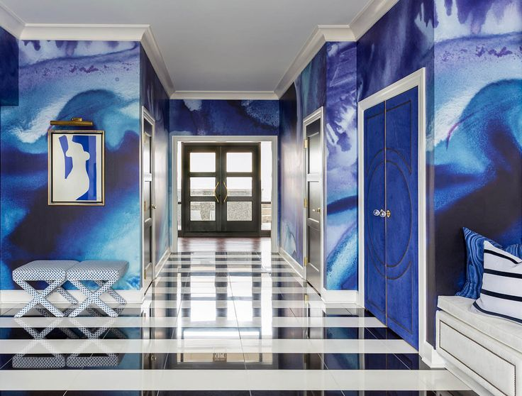 The Black Crow Studios Wallpaper Makes A Statement In Cobalt In This  Hallway   Tobi Fairley Interior Design