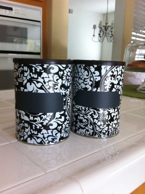 I have been saving empty coffee cans for a while and decided to turn them into storage jars.  The cans have lids which makes them great for food, spice or tea storage.   I emptied the cans of the remaining coffee and washed them out. Then I measured out contact paper to cover the sides …