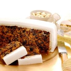 Christmas Cake: Britain & Commonwealth fruit cake soaked with brandy, covered in a layer of marzipan and icing.