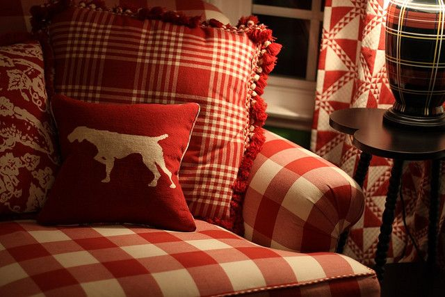 end of day by lucia and mapp, via Flickr- I never knew how HARD it is to find red & white plaid/gingham furniture like this until I starting searching! ANY ideas?!!