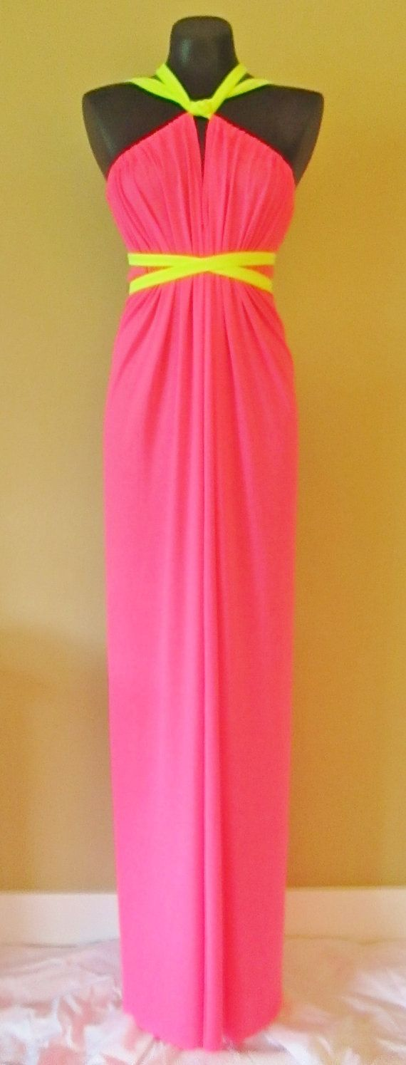 Neon Pink Maxi Sack dress. This dress can be worn in more than 20 different ways, and one size fits all! Maxi SACKdresses are CUSTOM hemmed to your height. #maxi #maxidress #sackdress #sack #long #onesize #onesizefitsall #etsy #custom #eco #ecofashion #economical #plussize #maternity #beach #coverup #greatgifts #straps #neon #pink #brightpink #electric