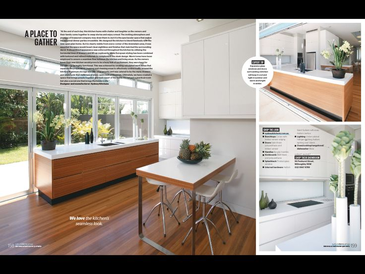 White laminate benchtop with plywood edging adjacent to timber topped kitchen island